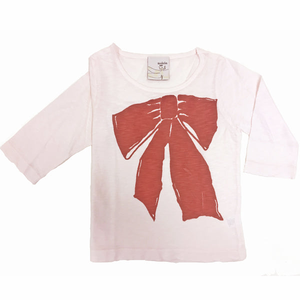 Pink long sleeve tee - Ribbon print