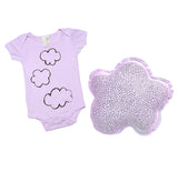 Infant gift combo- Small cloud pillow and organic infant one piece