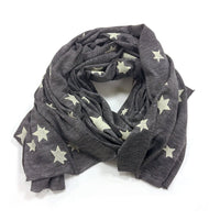 Lightweight raw edge scarf - Star cluster print