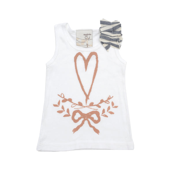 Rib tank with pleated sleeve - Heart garland print