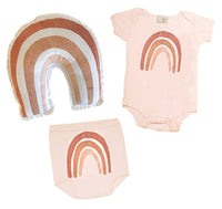 Organic infant one piece- Painterly rainbow print