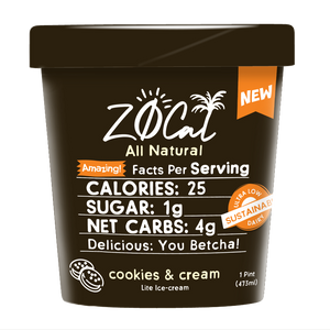 Z0Cal-Cookies&Cream-Case of 8 @ $4.49/pint