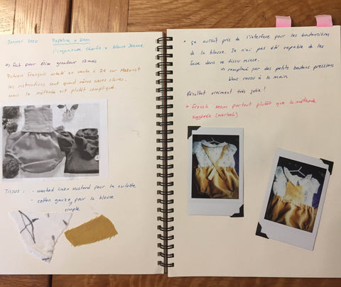 Book with notes about my sewing projects