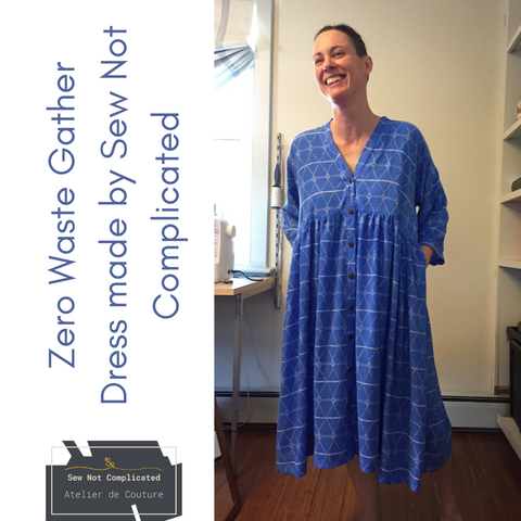 Zero waste gather dress made by Sew Not Complicated