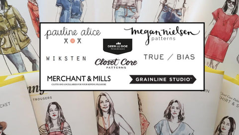 Indie sewing pattern brands on top of a pile of Closet Core Sewing Patterns