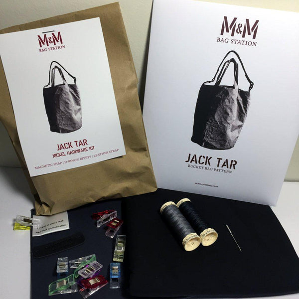 The Jack Tar Bag - Full Maker Kit Grey Dry Oilskin-Kits-Sew Not Complicated Atelier de Couture