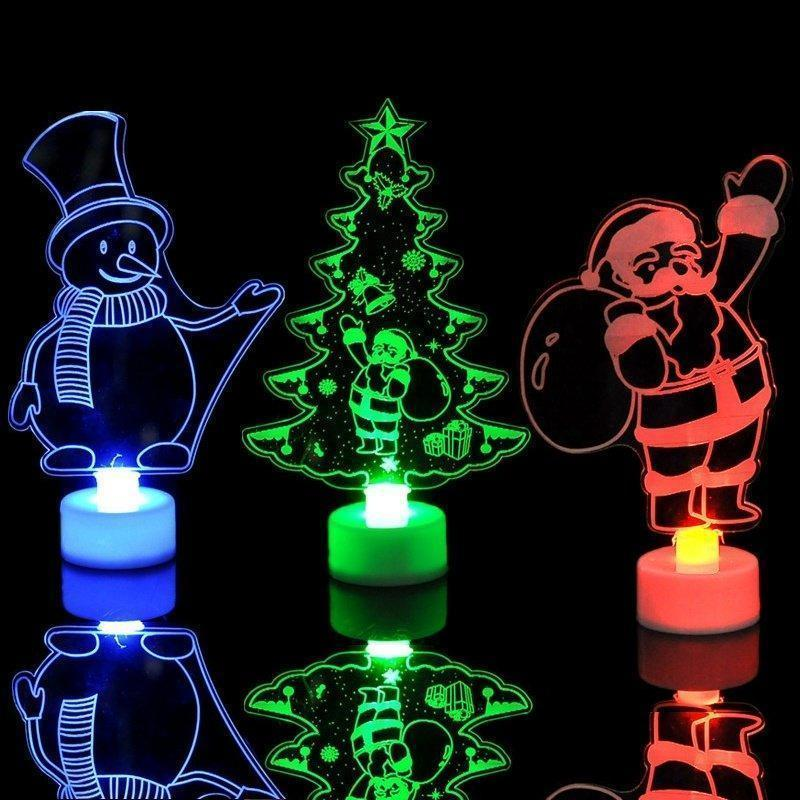 Colorful Little Christmas Tree, Christmas Snowman, Santa Claus Night Lights, Gifts and Christmas Decorations.