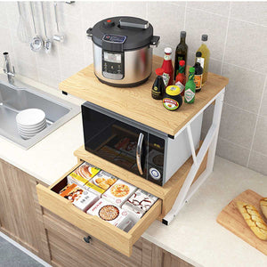 Kitchen Microwave Oven Rack With Drawer