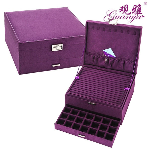 3 Layers Large Space Velvet Jewelry Box