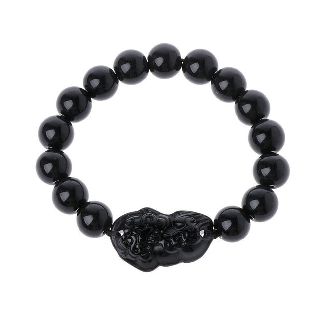 Fathers Day Gift Obsidian Stone Feng Shui Luck Bracelet