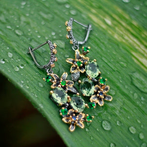 Feminine Stunning Green Zircon Earring Rings Set