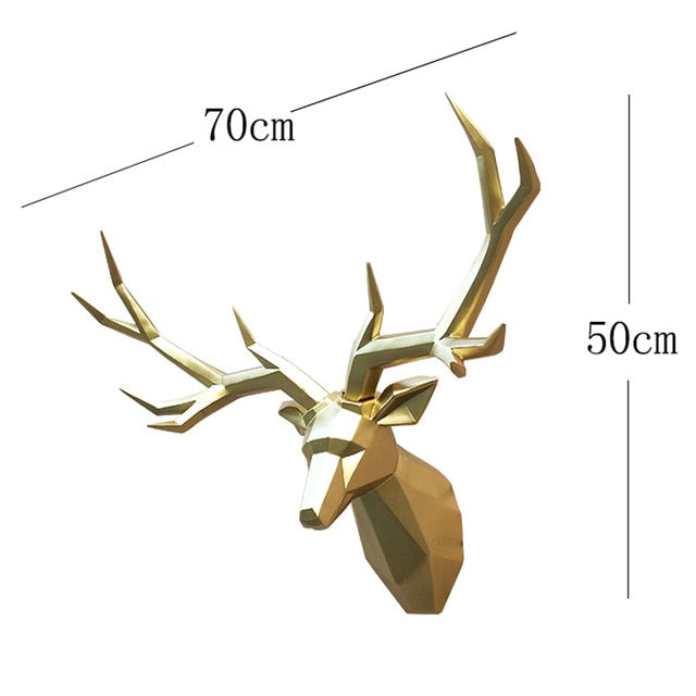 3D Deer Statue Animal Figurine Wall Decoration