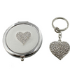Silver Plated Heart Keyring & Mirror Set