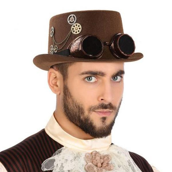 Polyester Hat Steampunk Brown - SuitFancy