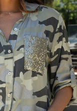 Load image into Gallery viewer, Camo Button Down with Sequin Pockets