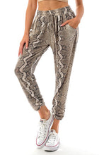 Load image into Gallery viewer, Snake Print Ruched Bottom Jogger