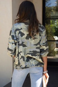 Camo Button Down with Sequin Pockets