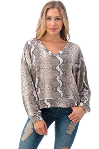 Snake Print Sweater Top