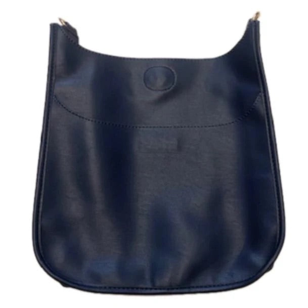 Navy Faux Leather Messenger No Strap Attached