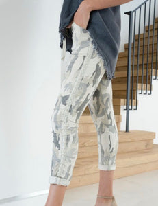 Camo Lurex Side Stripe Jogger