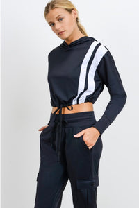 MONO B HOODIE PULLOVER WITH DOUBLE STRIPES