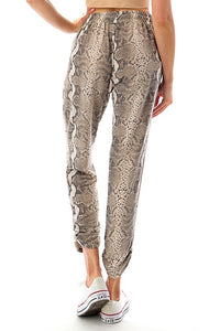 Snake Print Ruched Bottom Jogger