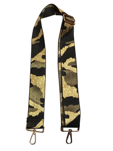 Black Army Gold Guitar Strap