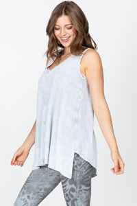 Mineral Wash Vneck Sleeveless top
