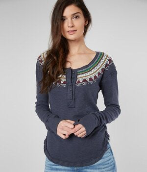 SALE-Free People Fair Isle Thermal Henley Top