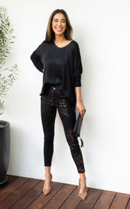Silk Drapey Long Sleeve top-in Black or White
