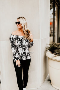 Black and White L/S Floral Top