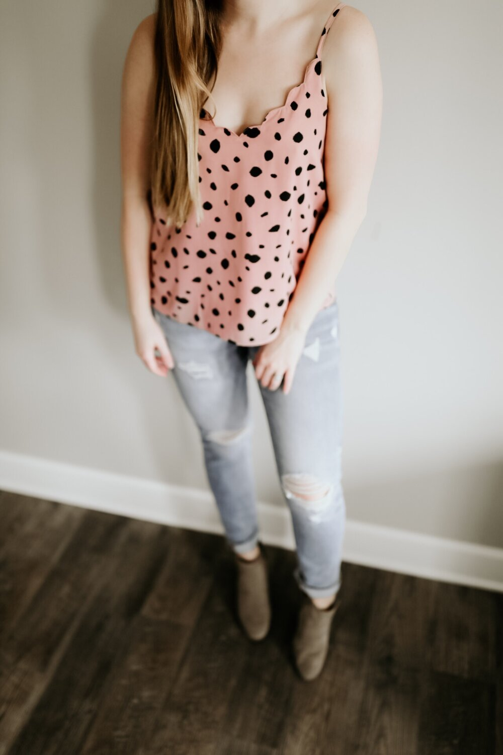 Blush & Black Print Cami with Scalloped Edge