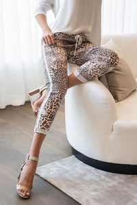 Cheetah Print Crinkle Jogger with Lurex Side Stripe
