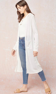 Ribbed Duster Cardigan with Pockets