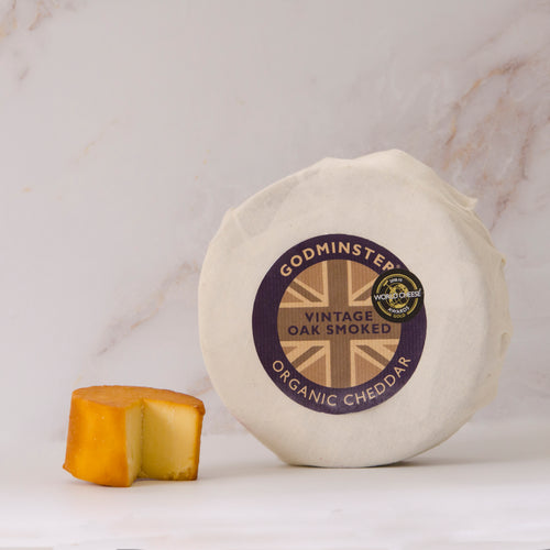 Oak smoked organic smoked cheddar cheese