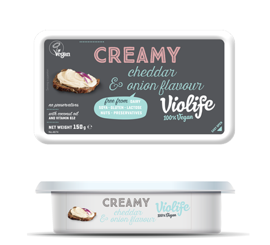vegan Creamy Cheddar & Onion Flavour cheese