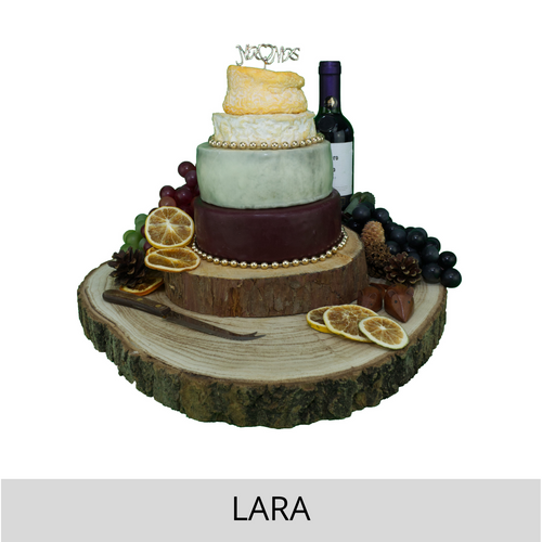 Serves 25-30 guests. 4 Layer cheese cake includes  Godminster Cheddar Heart, Lincoln Blue, Tunworth and Langres