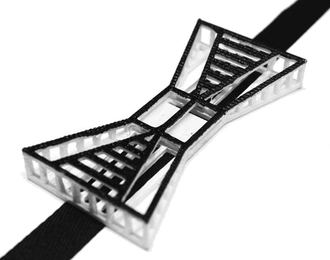 Justin LeBlanc's Black and White Graphic 3-D Printed Bowtie