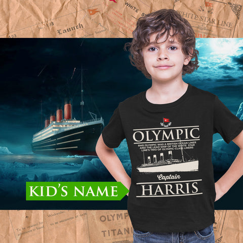 Captain R.M.S Olympic custom name shirt, handmade t shirt - personalizer reusable Olympic gift for boy 6 8 years old