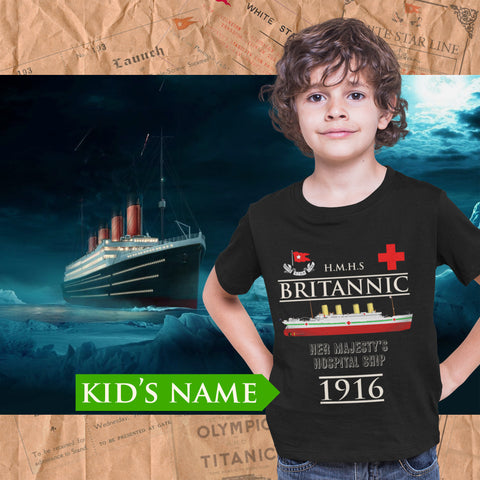 Britannic custom name shirt, handmade t shirt for history buff, custom printed tee - gift for boy and girl, mom & dad