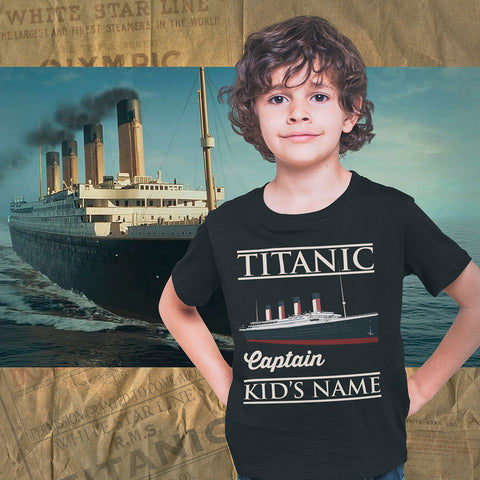 Captain Titanic custom name shirt, handmade t shirt - personalizer reusable Titanic gift for boy 6 8 years old