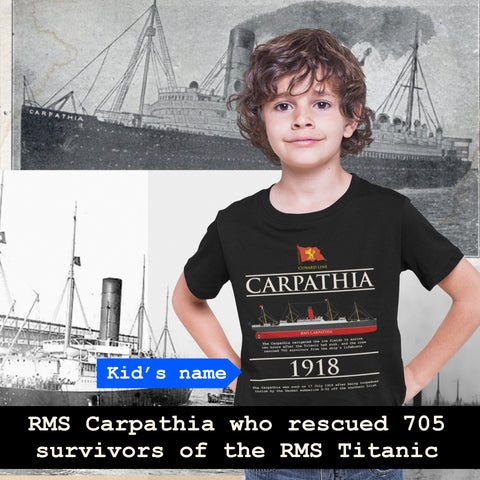 Carpathia custom name shirt, handmade t shirt, Cunard line ship t-shirt