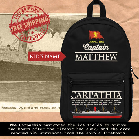 Captain Carpathia custom name backpack, personalized backpack - reusable RMS Carpathia ship gift for boy 6 14 years old, Cunand line steamer