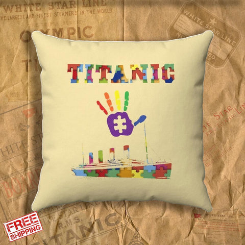 Autism awareness pillow kids, Titanic throw pillow covers, personalized pillow, kids name designer pillow covers gift for son & daughter-Square pillow-Titanic shop-titanic-square-body-pillow-Titanic shop
