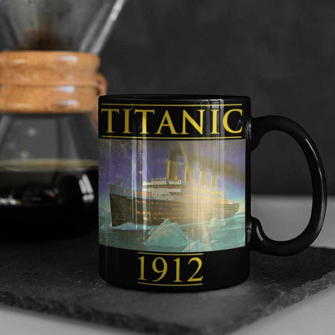 Black Titanic custom mug 11oz, can holder, water bottle. Vintage custom gift, tumbler for teen boy-Mug-Titanic shop-latte-mug-water-bottle-tumbler-can-holder-Titanic shop