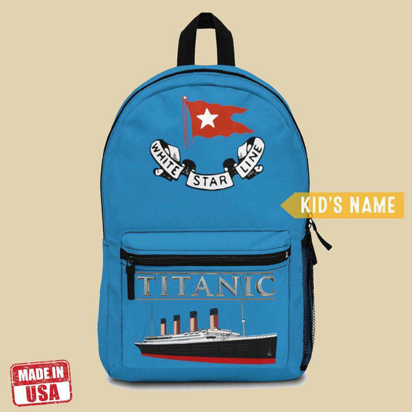 Blue Titanic backpack, school custom backpack, secondary school bag - history buff gift-School backpack-Printify-titanic-school-tote-bag-backpack-duffel-drawstring-white-star-line-Titanic shop