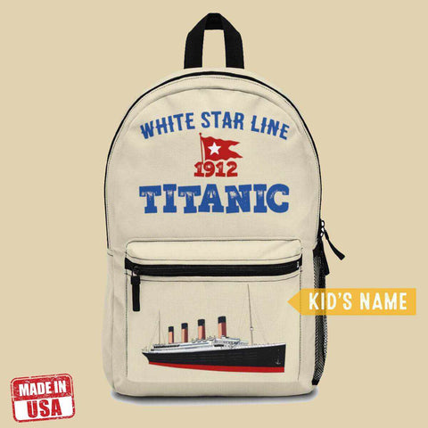 Boys personalized backpack, Titanic school backpacks for pupil, funny travel bag-School backpack-Printify-titanic-school-tote-bag-backpack-duffel-drawstring-white-star-line-Titanic shop