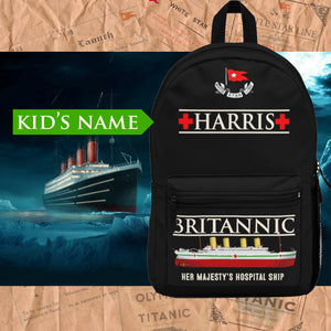 HMHS Britannic custom name backpack, personalized backpack