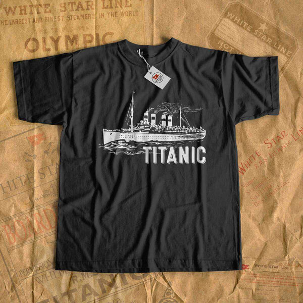 Cruise vessel Titanic t shirt, Vintage tee shirt with white Titanic design, gift for her, gift for him, family adventure shirt-T-shirt new-Titanic shop-titanic-tee-shirt-tshirt-1912-Titanic shop