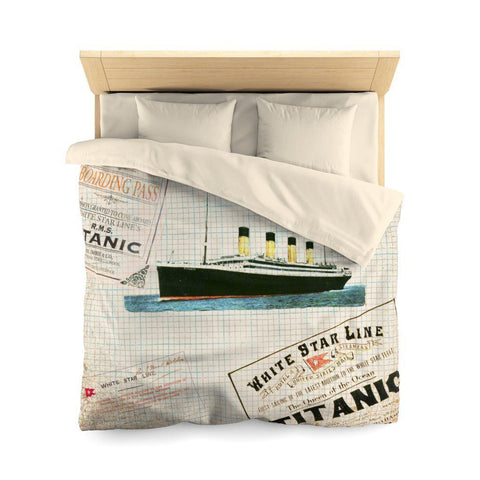 Duvet cover queen with invisible zipper closure, personalized vintage print with R.M.S Titanic.-Home Decor-Printify-titanic-blanket-comforter-duvet-cover-Titanic shop